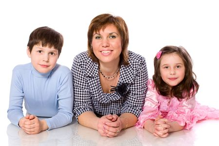 Happy Family mother and two kids isolated on white Stock Photo - 7045277