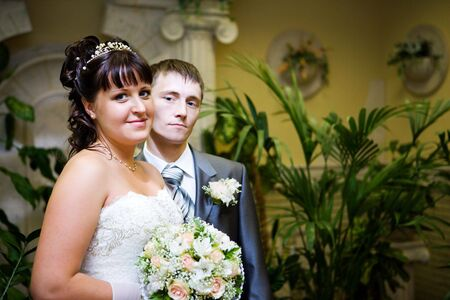 happy new married couple focus on bride  Stock Photo - 6952457