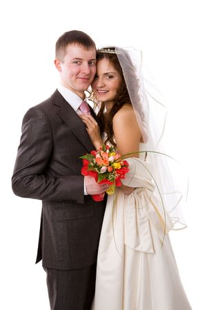 Portrait of Happy New Married couple isolated on white photo
