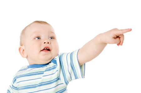 beiseite: Ein Jahr Boy Pointing suchen beiseite isolated on white