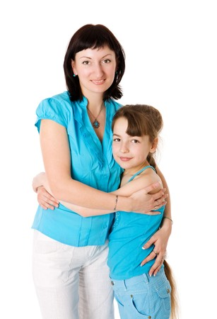 Mother and daughter holding together isolated on white photo