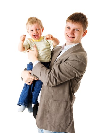 two years: Happy father holding two years son isolated on white