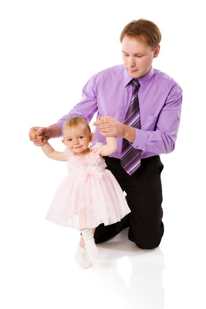 Father with baby girl posing isolated on white Stock Photo - 7092924