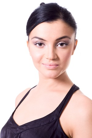 Closeup portrait of young woman with evening makeup isolated photo