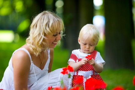 Happy mother walking with daughter in park outdoors Stock Photo - 7240222