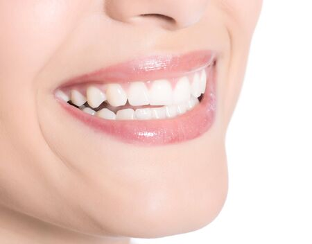 Happy cheerful girls smile with white teeth isolated on white Stock Photo