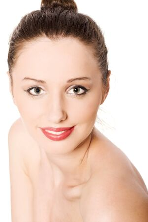 young beautiful smiling woman portrait isolated photo