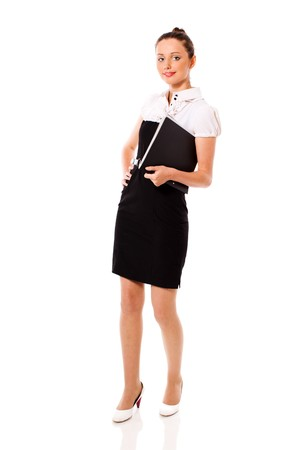 One beautiful Standing businesswoman isolated on white Stock Photo - 7343251
