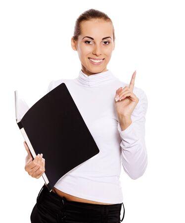 Businesswoman holding folder got idea isolated on white photo