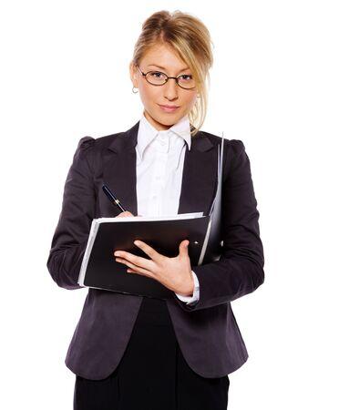 Businesswoman writing holding folder isolated on white Stock Photo - 7343283