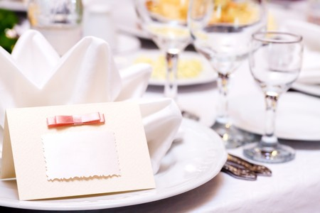 wedding guest: Blank event Guest Card on restaurant table