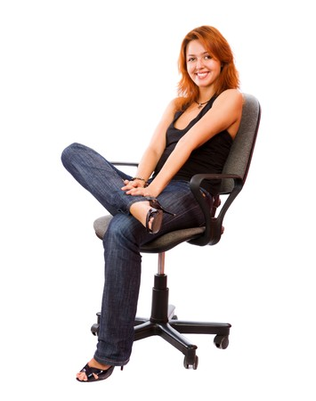 Cheerul Secretary sitting on office chair isolated on white Stock Photo - 7811544