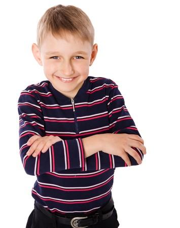 prodigy: Happy blond boy smiling isolated on white Stock Photo