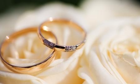 Tiros de dos anillos de bodas de oro en la macro de flores  Foto de archivo