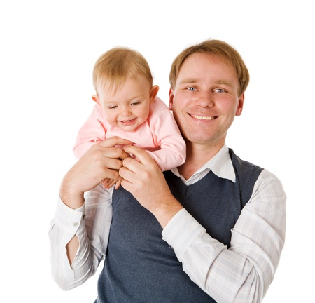 interested baby: Happy Father holding one year daughter isolated on white Stock Photo