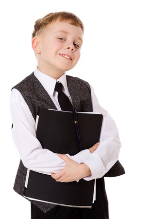 little businessman portrait isolated on white photo
