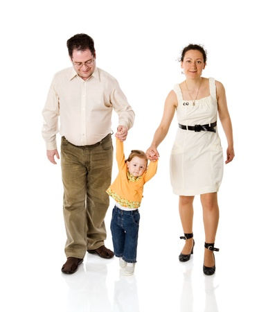 Happy Family playing with kid together isolated on white photo
