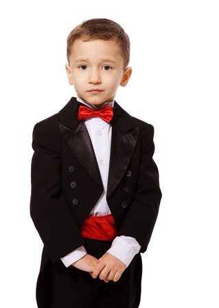 Little Boy wearing tuxedo portrait isolated on white Stock Photo - 8531455
