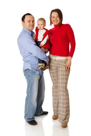 Happy Family posing together isolated on white Stock Photo - 8705359