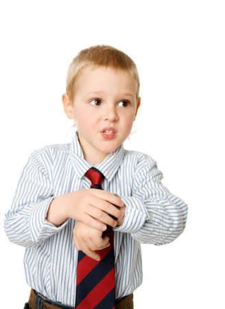 Worried boy running late checking time isolated on white photo
