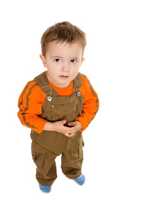 Funny one year Boy looking up isolated on white photo