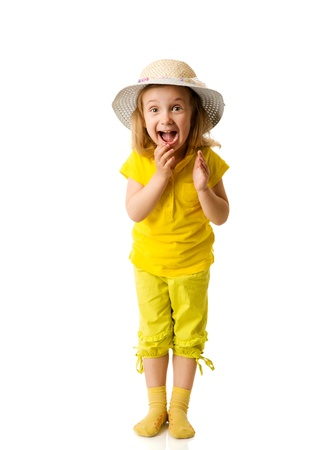 people clapping: Excited Little Girl shouting clapping hands isolated on white