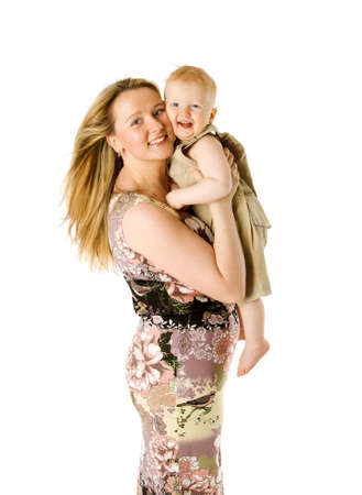 Happy Mother holding one year boy isolated on white photo