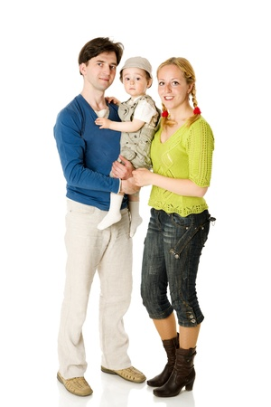Happy Family with kid together isolated on white Stock Photo - 9239528
