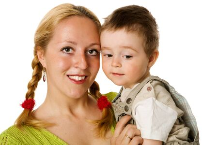 Happy mother holding two years son isolated on white Stock Photo - 9239611