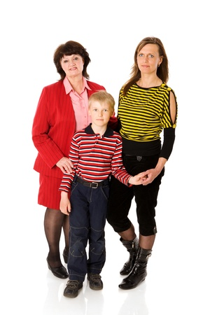 Happy Family with kid and grandmother together isolated on white Stock Photo - 9210594