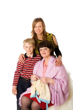 Happy Family with kid and grandmother together isolated on white Stock Photo - 9210598