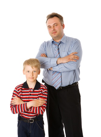 Father and son posing together isolated on white photo