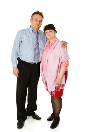 Man with mother standing together isolated on white photo
