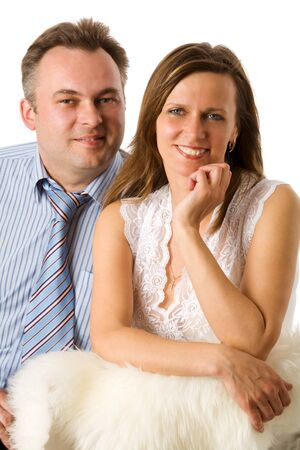 Cheerful Middle aged couple together isolated on white photo