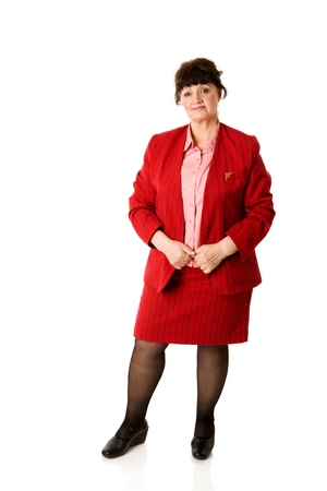 Portrait of cheerful  mature woman isolated on white photo