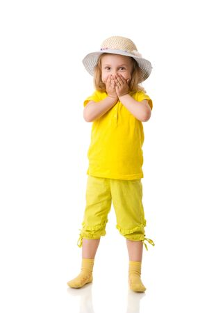 cowering: Excited Little Girl shouting cowering mouth isolated on white Stock Photo