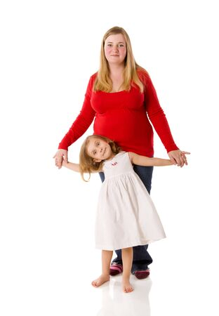 mother and daughter holding hands isolated on white photo