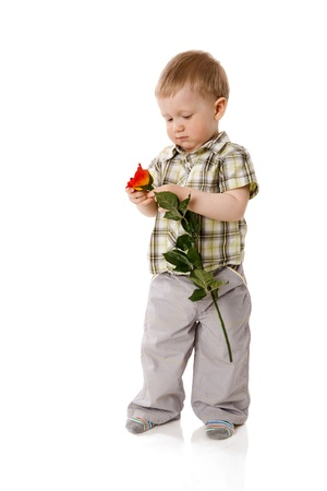 two years: Two years boy standing full length isolated on white Stock Photo