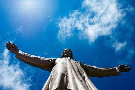 corazon: Jesus Christ sculpture on top of Sagrat Corazon chirch on Tibidabo mountain,Barcelona,Spain Stock Photo