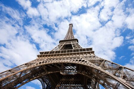 Eiffel Tower low angle view over sky Paris France photo