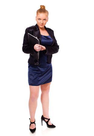 Businesswoman holding folder isolated on white photo