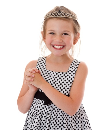 Happy laughing six years girl portrait isolated Stock Photo - 9852189