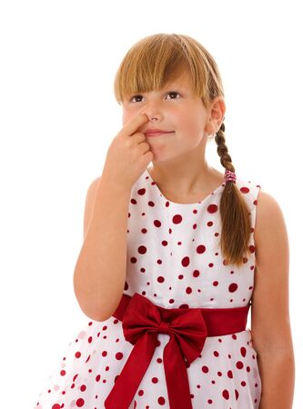 sniffles: Seven years girl picking her nose isolated on white