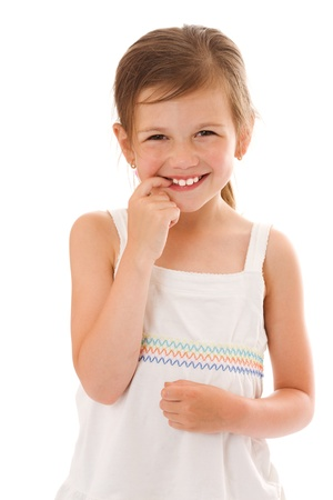 only one girl: Smiling little girl happy portrait isolated on white Stock Photo