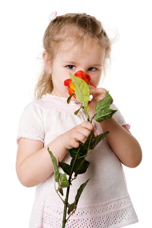Little Girl holding rose looking down isolated on white photo