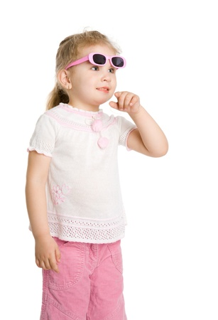 Girl wearing pink sunglasses looking up isolated  photo