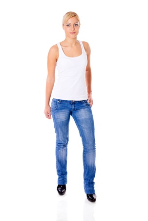 young woman wearing jeans standing isolated on white photo