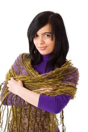 Muslim Woman wearing vivid dress and scarf isolated on white Stock Photo - 13838033