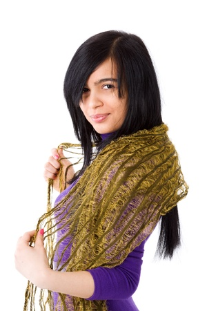 Muslim Woman wearing vivid dress and scarf isolated on white Stock Photo - 13838034