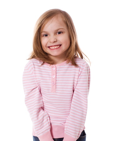 4 of a kind: portrait of cheerful  Little Girl isolated on white